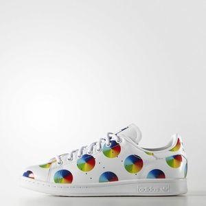 Adidas Mens Stan Smith Rainbow Polka Dots Sneakers